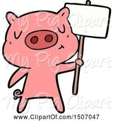 Swine Clipart of Content Pig Signpost;sign by Lineartestpilot