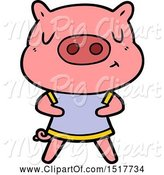 Swine Clipart of Content Pig Wearing T Shirt by Lineartestpilot