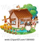 Swine Clipart of Cottage and Livestock by Graphics RF