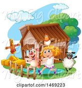 Swine Clipart of Country Girl with Farm Animals by Graphics RF