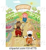 Swine Clipart of Cow Horse and Pig in a Vegetable Garden by BNP Design Studio