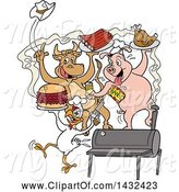 Swine Clipart of Cow, Pig and Chicken Celebrating, Eating Bbq Ribs, Burgers and Chicken by LaffToon