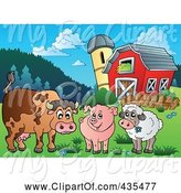 Swine Clipart of Cow, Pig and Lamb by a Barn by Visekart