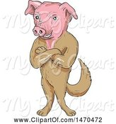 Swine Clipart of Creature with a Pig Head and Dog Body in Sketch Style by Patrimonio