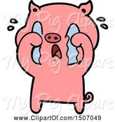 Swine Clipart of Crying Pig by Lineartestpilot