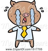 Swine Clipart of Crying Pig Wearing Human Clothes by Lineartestpilot