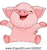 Swine Clipart of Cute Baby Piglet Cheering by Pushkin