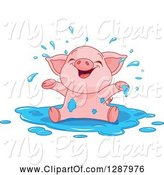 Swine Clipart of Cute Baby Piglet Playing in a Puddle of Water by Pushkin