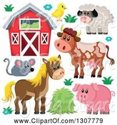 Swine Clipart of Cute Barn, Chick, Sheep, Cow, Mouse, Horse and Pig by Visekart