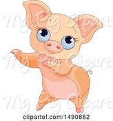 Swine Clipart of Cute Blue Eyed Curly Tailed Piglet Dancing by Pushkin