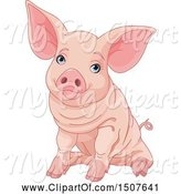 Swine Clipart of Cute Blue Eyed Pink Pig Sitting by Pushkin