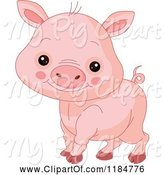 Swine Clipart of Cute Cartoon Baby Piglet Smiling by Pushkin