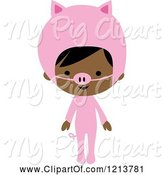 Swine Clipart of Cute Cartoon Black Girl in a Pink Piggy Halloween Costume by Peachidesigns