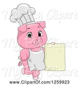Swine Clipart of Cute Cartoon Chef Pig Holding a Menu Sign by BNP Design Studio