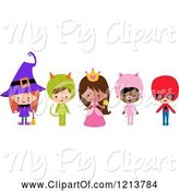 Swine Clipart of Cute Cartoon Children in Witch Princess Pig Super Hero Halloween Costumes by Peachidesigns