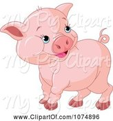 Swine Clipart of Cute Cartoon Chubby Baby Pig by Pushkin