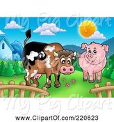 Swine Clipart of Cute Cartoon Cow and Pig in a Mountainous Pasture by Visekart