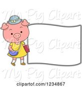 Swine Clipart of Cute Cartoon Female Pig Standing by a Sign by BNP Design Studio
