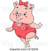 Swine Clipart of Cute Cartoon Female Piggy Wearing a Swimsuit by BNP Design Studio