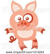Swine Clipart of Cute Cartoon Happy Baby Piglet by Zooco