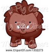 Swine Clipart of Cute Cartoon Happy Boar by BNP Design Studio
