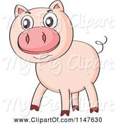 Swine Clipart of Cute Cartoon Pig by Graphics RF