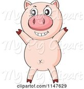 Swine Clipart of Cute Cartoon Pig Cheering by Graphics RF