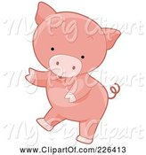 Swine Clipart of Cute Cartoon Pig Dancing by BNP Design Studio
