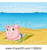 Swine Clipart of Cute Cartoon Pig Sun Tanning on a Beach by Graphics RF