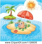 Swine Clipart of Cute Cartoon Pig Sun Tanning on an Island by Graphics RF