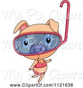 Swine Clipart of Cute Cartoon Piggy in a Bikini and Snorkel Mask by Graphics RF