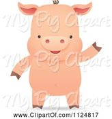 Swine Clipart of Cute Cartoon Piggy Smiling and Waving by Qiun