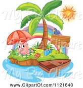 Swine Clipart of Cute Cartoon Piggy Sun Bathing on an Island by Graphics RF