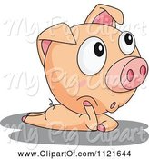 Swine Clipart of Cute Cartoon Piggy Thinking by Graphics RF