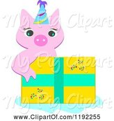 Swine Clipart of Cute Cartoon Piggy Wearing a Party Hat over a Birthday Present by