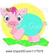 Swine Clipart of Cute Cartoon Piglet by Bpearth