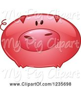 Swine Clipart of Cute Cartoon Reflective Pink Pig by Yayayoyo