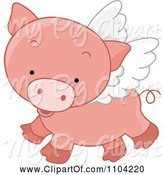 Swine Clipart of Cute Cartoon Winged Pig Flying by BNP Design Studio