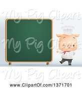 Swine Clipart of Cute Chef Pig Giving a Thumb up and Winking by a Chalk Board by Qiun