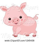 Swine Clipart of Cute Farm Animal Pig by Pushkin