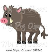 Swine Clipart of Cute Happy Razorback Boar by Visekart