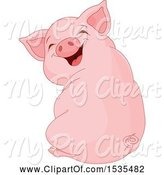 Swine Clipart of Cute Laughing Piglet Sitting and Looking Back by Pushkin