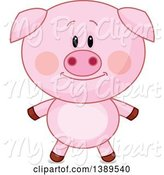 Swine Clipart of Cute Pig by Pushkin
