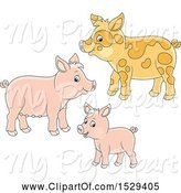 Swine Clipart of Cute Pig Family by Alex Bannykh