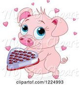 Swine Clipart of Cute Pig Holding Valentines Day Chocolates by Pushkin