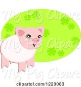 Swine Clipart of Cute Pig over an Oval of Flowers by