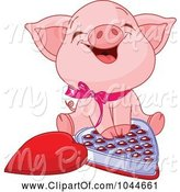 Swine Clipart of Cute Piglet Laughing over a Box of Valentine's Day Chocolates by Pushkin