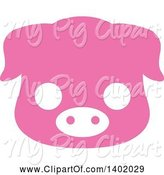 Swine Clipart of Cute Pink Piggy Animal Face Avatar or Icon by Pushkin