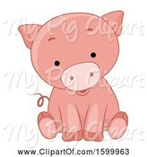 Swine Clipart of Cute Sitting Piglet by BNP Design Studio