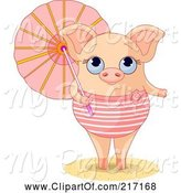 Swine Clipart of Cute Summer Piglet in a Swimsuit, Holding a Parasol by Pushkin